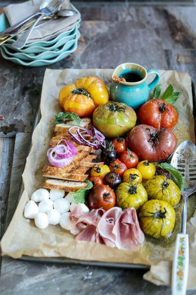 Panzanella Salad with heirloom tomatoes, mozzarella and prosciutto
