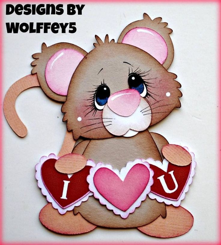 ELITE4U LOVE MICE  paper piecing premade scrapbook page album mat set  WOLFFEY5
