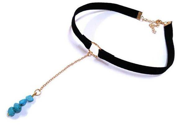 Turquoise Choker Gemstone Necklace Long Chain Choker Velvet