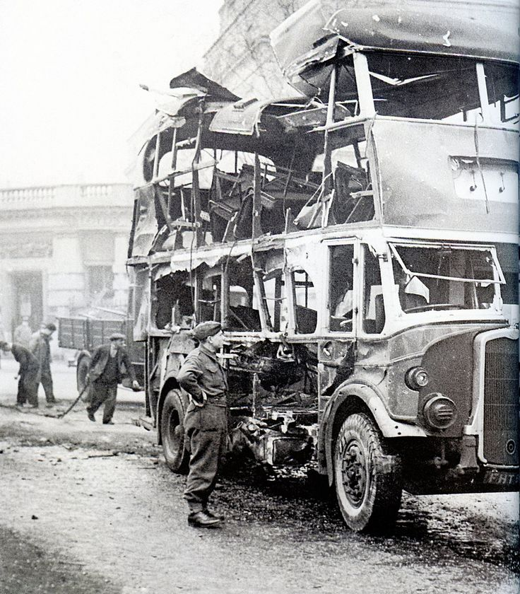 Bristol at War - Whiteladies Road | The night of 2nd December 1940 saw Bristol's second 'Blitz' - This Bristol double-decker bus was badly damaged during this raid.