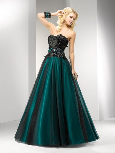 Dark Teal Gown with Black Feather Bodice