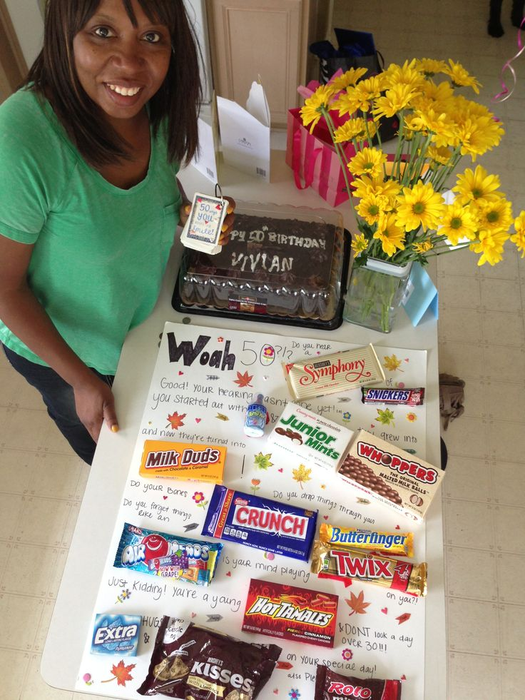 50th birthday poster board candy filled card! Pinterest idea of course ...