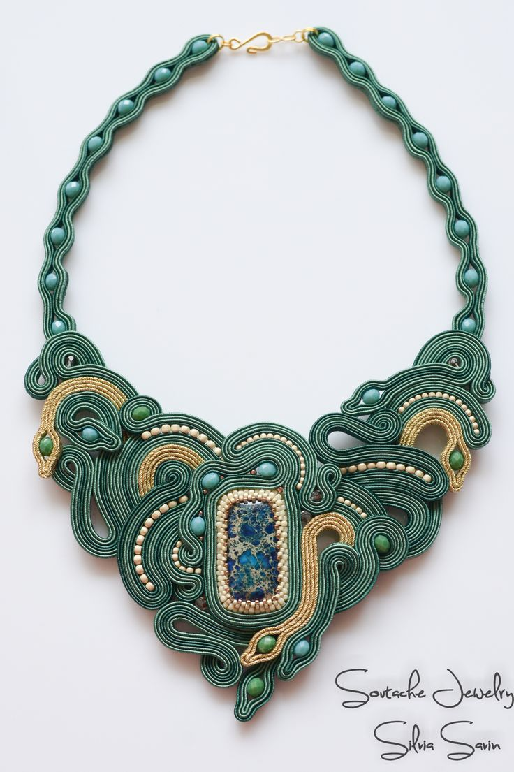 Green and gold soutache necklace with jasper, czech crystal beads and Toho