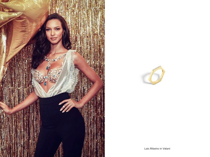Lais Ribeiro in our Hexa Diamond Yellow Gold Ring for Victoria's Secret