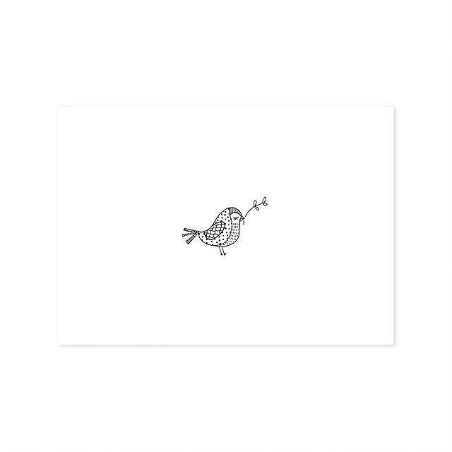 Ansichtkaart Vogel Ansichtkaart met illustratie van een vogeltje. Gedrukt op structuurpapier. Afmeting A6-formaat.