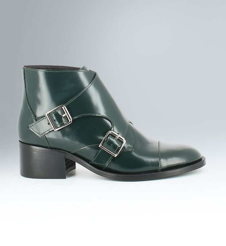 Green leather boots, Jonak