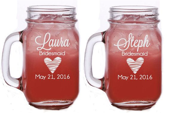 Bridesmaid Mason Jar, Engraved Mason Jar with Handle, Maid of Honor Mason Jar, Wedding Mason Jar, Etched Mason Jar, Bridal Party Gift