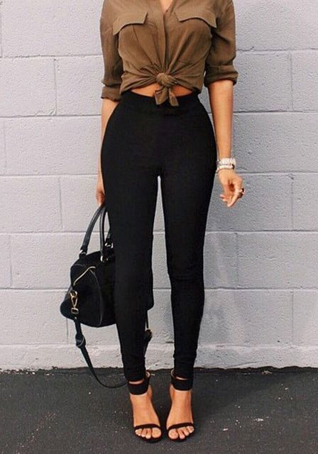 knotted shirt and high waist leggings