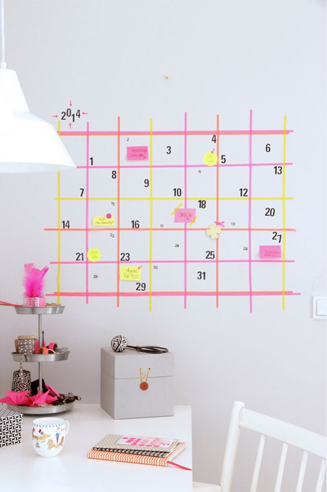 Diy Calendar Wall Art : Washi wall calendar craft diy pinterest