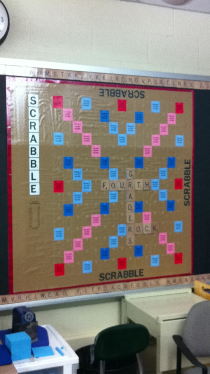 Interactive scrabble bulletin board word games