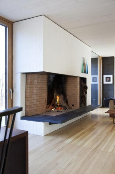 Home Design Fireplace In The House At Waterfront Home Interior Design Winter With White Wall And The Wood Floor And In The Top There A Bottle Decor Country Rural Home Designs Plans with Open Floor Plan
