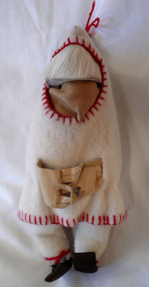 Canada INUIT Wool DOLL Leather Face FELT Jacket Fur Hair on Head Handmade