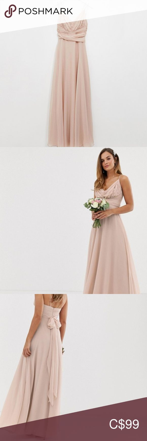 Blush Bridesmaid Dress | ASOS ASOS DESIGN Bridesmaid cami wrap tie waist maxi dr…
