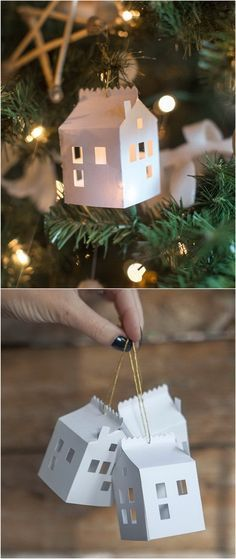 DIY Paper House Christmas Ornament.
