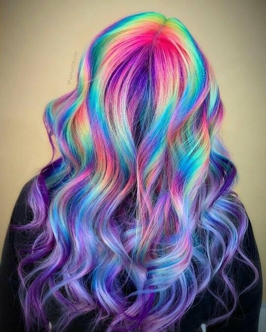 104 Pastel and also Hidden Rainbow Hair Color Ideas - All For Hair Color Balayage Pretty Hair Color, Hair Color Purple, Hair Dye Colors, Hair Color For Black Hair, Rainbow Hair Colors, Rainbow Dyed Hair, Unicorn Hair Color, White Hair, Hidden Hair Color