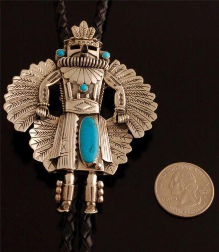 Hopi Eagle Dancer Silver Turquoise Bolo Tie by D Denetdale ...