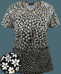 Cherokee Runway Scrubs Spring It On! Print Top