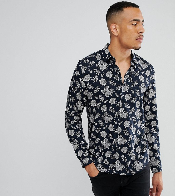 ASOS TALL Regular Fit Vicsose Floral Print Shirt - Navy