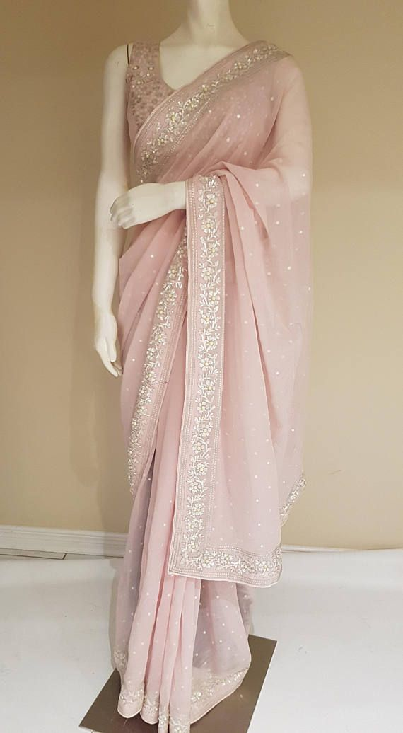 Material :Georgette Colour:Light pink Comes with a stitched blouse Size: 34-42 bust Ready to ship Free shipping