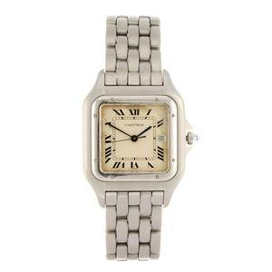 LOT:44 | A stainless steel quartz Cartier Panthere bracelet watch.