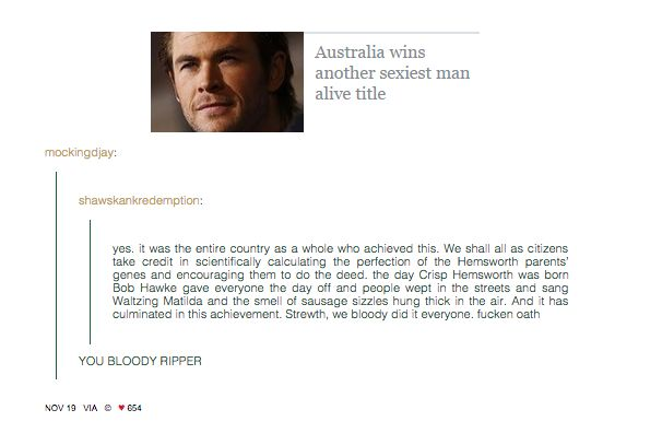 On being home to People's Sexiest Man Alive: | 47 Times Australians Totally Nailed It On Tumblr In 2014