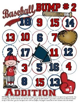 Baseball BumpPerfect for practicing addition! Bump 1 uses regular six sided dice. Bump 2 uses two 10 sided dice or 3 six sided dice.