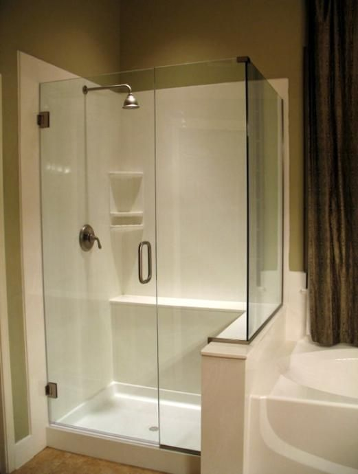 Frameless shower door on cultured marble