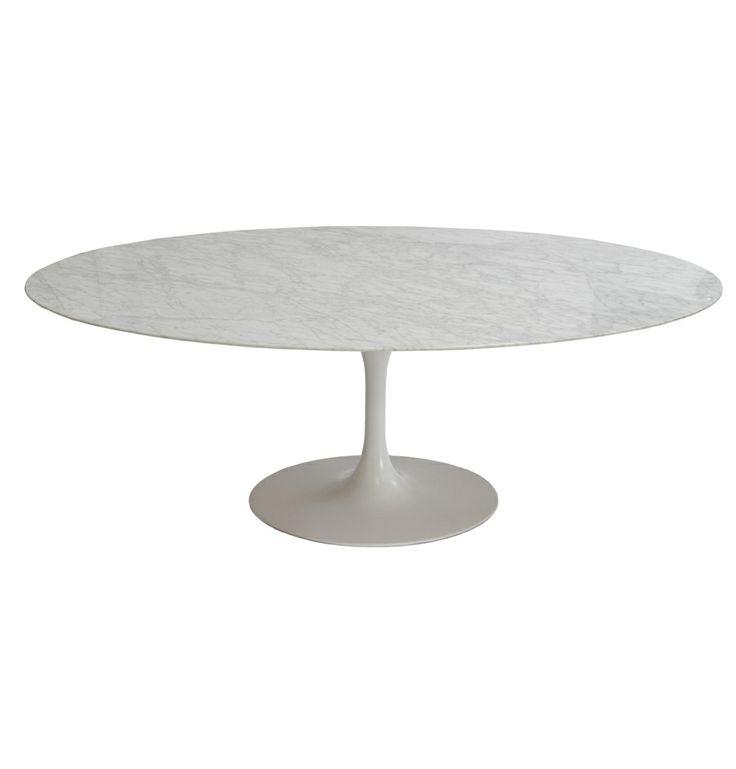 Replica Eero Saarinen Tulip Dining Table Oval - Marble by Eero Saarinen - Matt Blatt