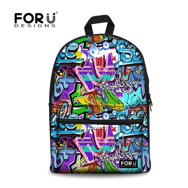 Fashion Kids Backpack Canvas Graffiti Printing Backpacks for Women Teenagers Girls School Bags Travel Backpack Ruchsack