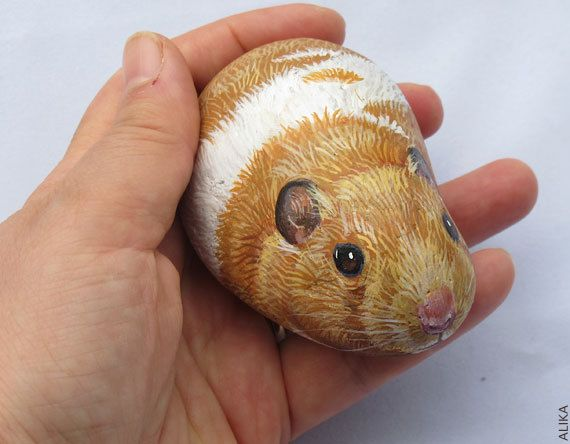 Painted rock stone art hamster (reserved for Anel)