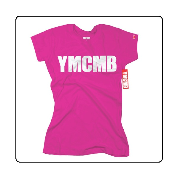 YMCMB White Print on Pink (Womens) USA Import T Shirt ($27) ❤ liked on Polyvore