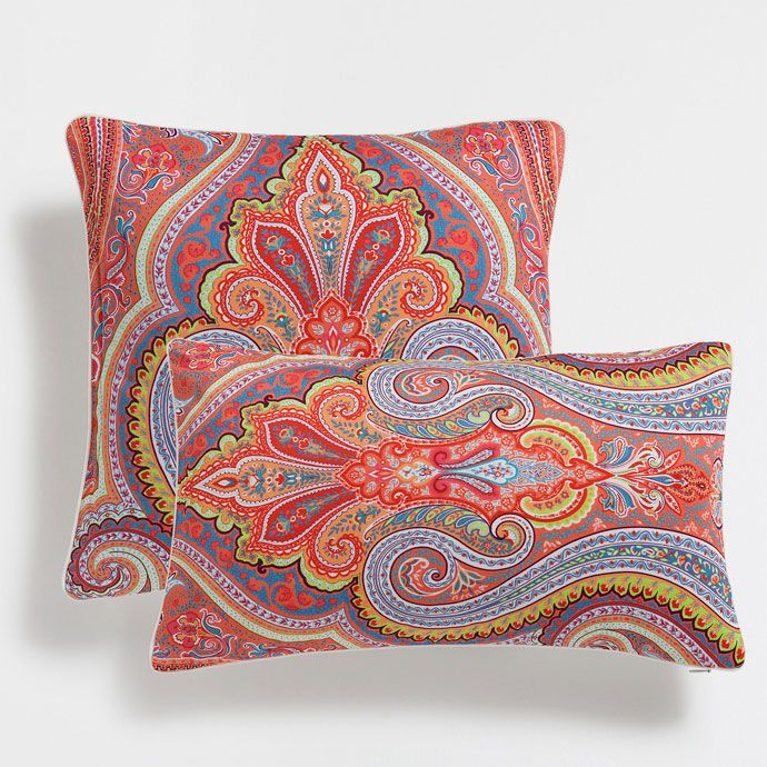 Multicoloured paisley print cotton cushion cover