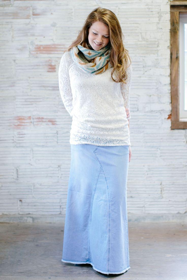 Love Blue Fringed Long Jean Skirt