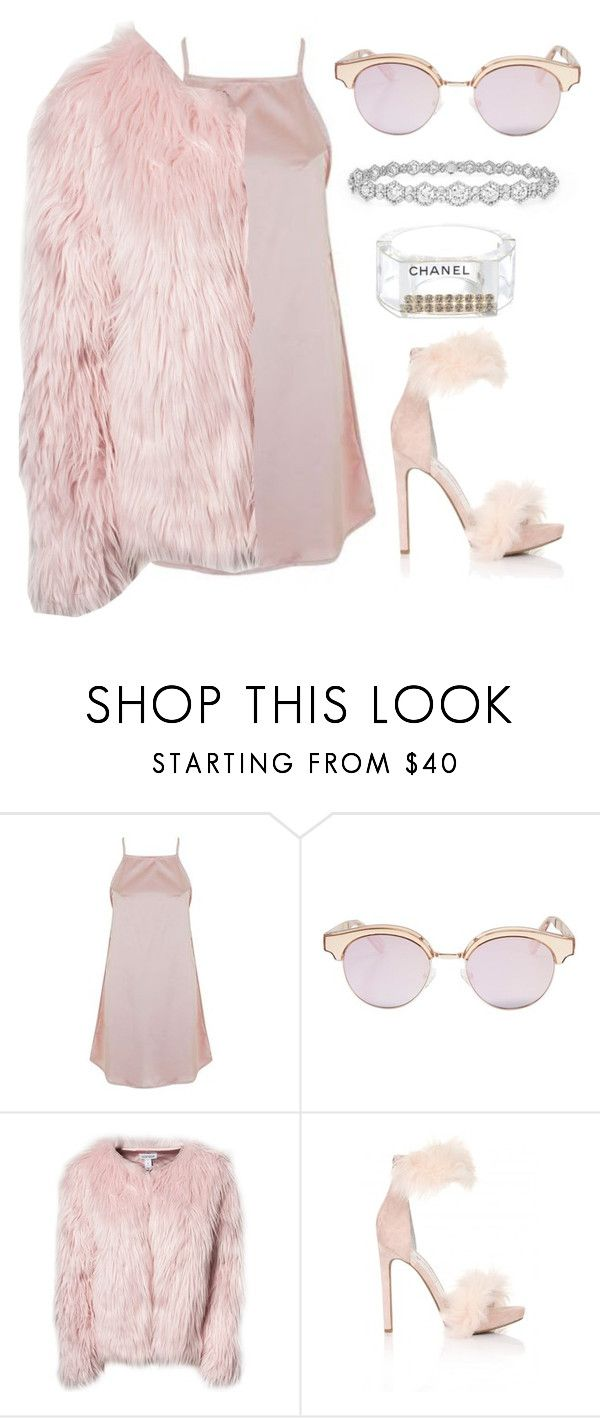 """Scream queens (pink fur)"" by fashion-indie ❤ liked on Polyvore featuring Topshop, Le Specs, Epoque, Estradeur and Chanel"