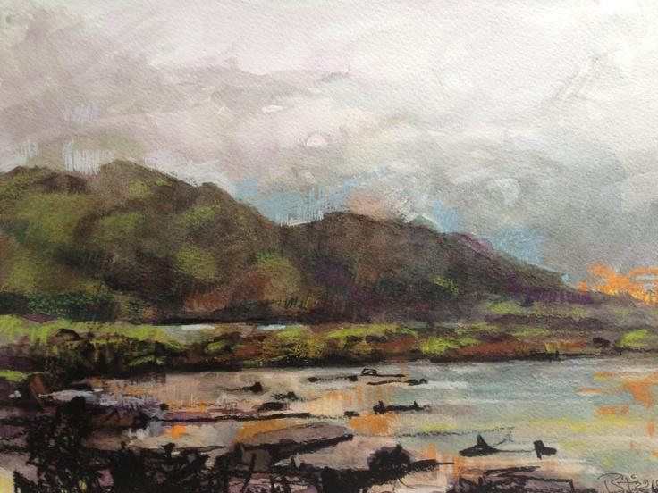 Arnamurchan Point. A4 Watercolour and Pastel.