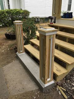 Start of porch rebuild. Columns started as 6x6's and were built up using 5/4 pressure treated deck board and pvc trim.                 Here...