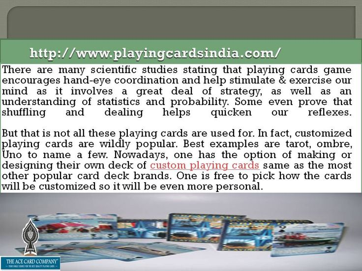 Proffering Best Offers Custom Playing Cards or Personalized Playing cards are same they can be in Poker or Bridge Size these playing cards are best used for Brand Promotion.  http://www.playingcardsindia.com/