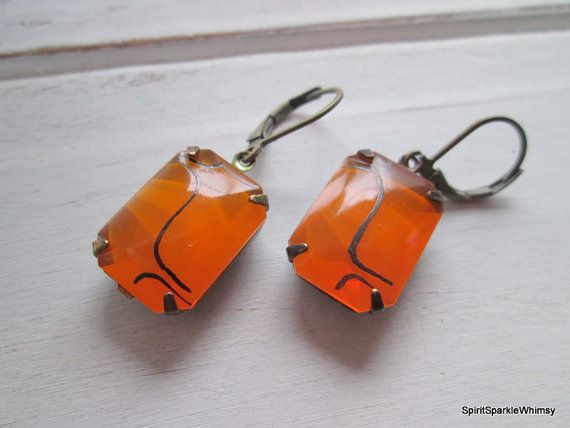 Check out this item in my Etsy shop https://www.etsy.com/ca/listing/256396508/orange-earring-orange-rhinestone-earring