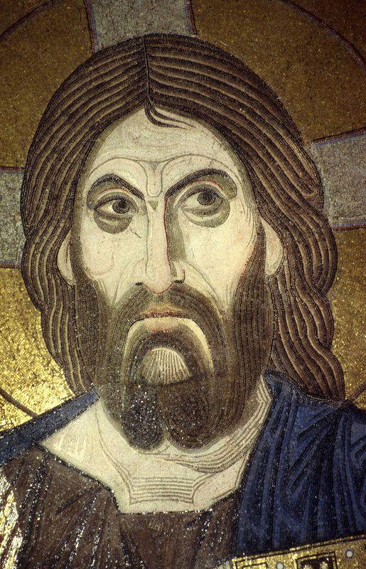 Фрагмент интерьера - I. 1 - Пантократор в куполе; 2 - Пророки между окнами барабана; 3,4 - Преображение и Благовещение в тромпах; Пророки - в барабане Преображение…
