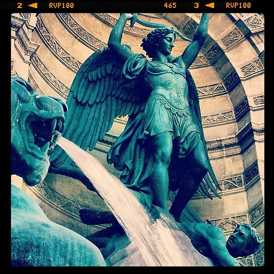 My photo of the Saint Michael fountain in Paris — put through Instagram.    See the rest of my photography portfolio on RedBubble: http://www.redbubble.com/people/felinemind