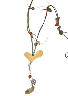 Handmade jewelry, silver heart necklace made of agates,rutile fresh water pearls, agated, pearls, cords and Swarovski crystals - Χειροποίητο μακρύ κολιέ καρδιά φτιαγμένο από ασήμι 925ο με μενταγιόν 50x40mm από επιχρυσωμένο μπρούντζο.Το κολιέ στολίζουν μαργαριτάρια, αχάτες, ρουτίλιο πέρλα και κρύσταλλα Swarovski.