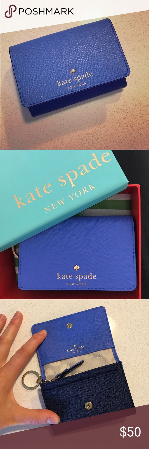 """NWT Kate Spade """"Darla"""" wallet NWT Kate Spade """"Darla"""" wallet from Cedar Street collection. Beautiful periwinkle blue and navy blue color. Features ID holder, coin purse, keychain, and multiple pockets. Comes in original Kate Spade box and care card. Make an offer! kate spade Bags Wallets"""