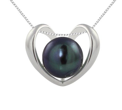 """Sterling Silver Heart Pendant with Freshwater Cultured Peacock Black Button Pearl (9.5-10mm), 18"""" $59.00"""