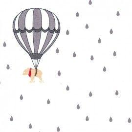 Tissu coton Gütermann Little Friends Raindrops - blanc x 63cm