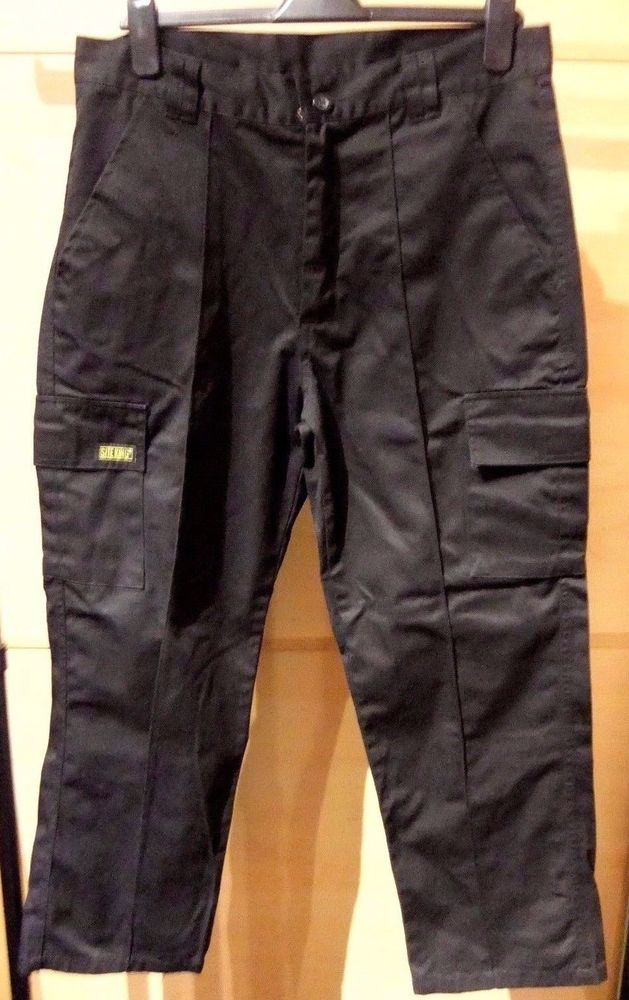 Men's Black Site King Working Clothing Cargo Combat Trousers Size 34S  #SiteKing #Combat