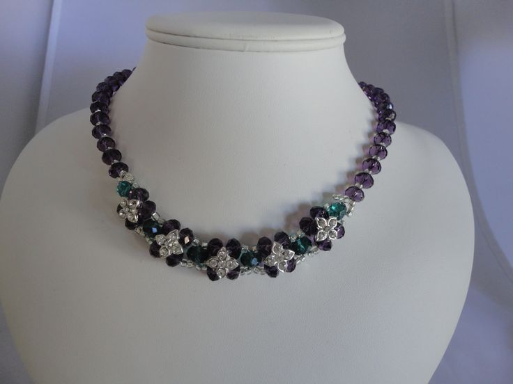 Blue and purple crystal flower necklace
