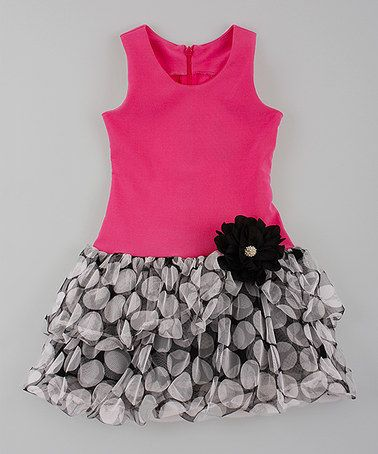 Loving this Rose & Black Polka Dot Drop-Waist Dress - Toddler & Girls on #zulily! #zulilyfinds