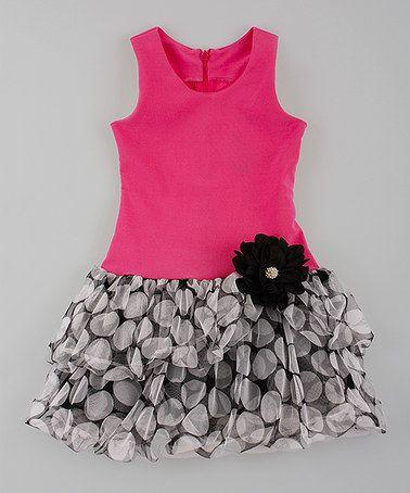 Loving this Rose & Black Polka Dot Drop-Waist Dress - Toddler & Girls on #zulily! #zulilyfinds