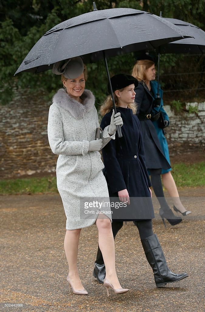 Sophie, Countess of Wessex and Lady Louise Windsor attend a Christmas Day church service at Sandringham on December 25, 2015 in King's Lynn, England.  (Photo by Chris Jackson/Getty Images)