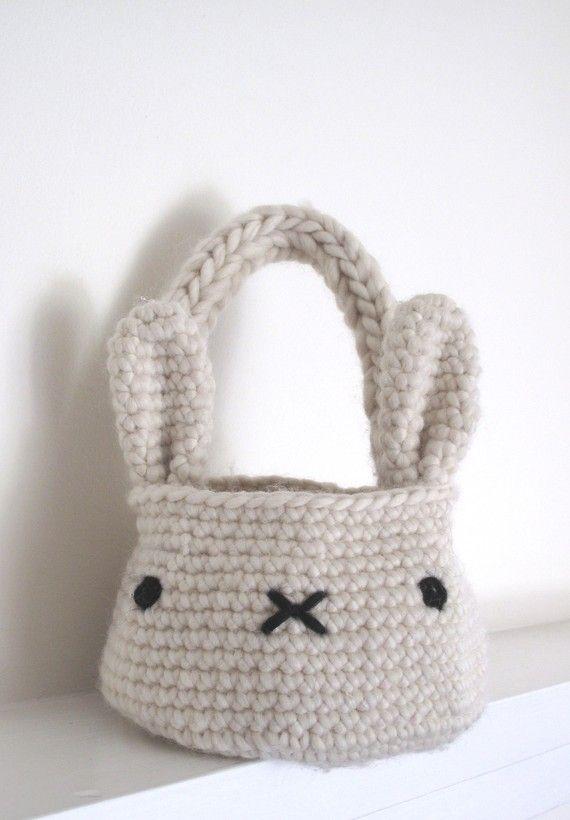 bunny basket bag - crochet pattern - PDF via Cheryl Cambras
